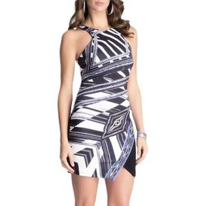 Bebe | Asymmetric Printed Side Ruffle Halter Dress